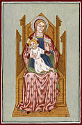 Egg Tempera Prints - Madonna col Bambino in trono - Mother of God on the throne. Print by Raffaella Lunelli
