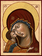 Egg Tempera Paintings - Madonna della Tenerezza - Our Lady of Tenderness by Raffaella Lunelli