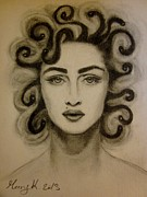 Medusa Drawings Metal Prints - Madonna Gorgona Metal Print by Mary Kushilevich