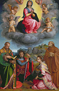 Virgin Mary Paintings - Madonna in Glory with Four Saints by Andrea del Sarto