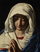 Sassoferrato Prints - Madonna in Prayer Print by Giovanni Battista Salvi da Sassoferrato