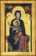 Egg Tempera Prints - Madonna in throne with Child. - Madonna in trono con Bambino.  Print by Raffaella Lunelli
