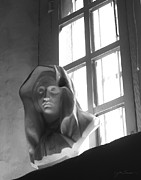 Eastern Orthodox Photos - Madonna in Window BW by Julie Magers Soulen