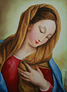 Virgin Mary Pastels Posters - Madonna Poster by Marna Edwards Flavell
