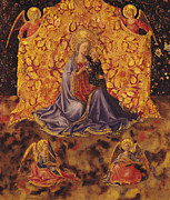 Christmas Cards Paintings - Madonna of Humility with Christ Child and Angels by Fra Angelico