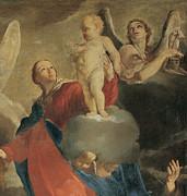 Madonna Of Mount Carmel With St Simon Print by Giuseppe Maria Crespi