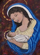 Silent Night Paintings - Madonna of the Burgundy Tapestry - Cropped by Kathleen McDermott