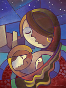 Abstract Mother And Child Paintings - Madonna of the Lake by Larry Hunter