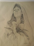 Religious Drawings - Madonna Of The Lidy by Tommy Rubel