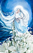 Goddess Birth Art Posters - Madonna of the Lilies Poster by Beryl Noyce