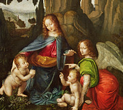 Virgin Mary Prints - Madonna of the Rocks Print by Leonardo da Vinci