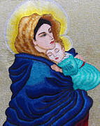 Virgin Mary Tapestries - Textiles Metal Prints - Madonna of the Street  Metal Print by To-Tam Gerwe