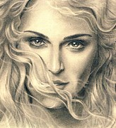 Singer Drawings - Madonna portrait by Martin Velebil