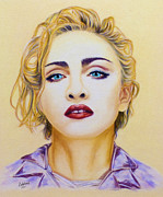 Pop Singer Pastels Framed Prints - Madonna Framed Print by Rebelwolf