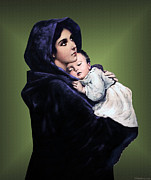 Baby Jesus Mixed Media Prints - Madonna with Child Print by A Samuel