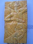 Religious Reliefs Originals - Madonna With Child And Angel by Jasenka Kapitanovic