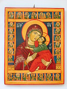 Byzantine Icon Prints - Madonna with Child Jesus surrounded by saints hand painted wooden orthodox icon Print by Denise Clemenco