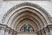 Carving Posters - Madonna with Child on Matthias Church Tympanum Poster by Artur Bogacki