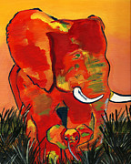 Elephant Digital Art Posters - Madre Poster by LiL Bean Art