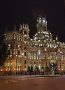 Neo-classical Framed Prints - Madrid City Hall at Night Framed Print by Jenny Hudson