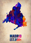 World Map Digital Art Metal Prints - Madrid Watercolor Map Metal Print by Irina  March