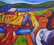 Maori Paintings - Mae Mae On Horseback At The Farm by Dianne  Connolly