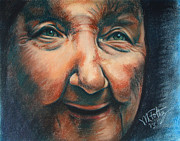 Old Face Pastels Framed Prints - Mae Framed Print by Michael Foltz