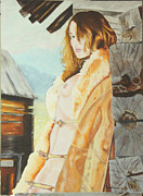 Fine Art  Of Women Paintings - maedchen auf der Alm by Stan bert Singer