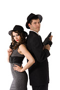 Tommy Hat Framed Prints - Mafia Couple Framed Print by Diana Jo Marmont