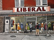 Store Fronts Paintings - Magasin Liberal Notre Dame  by Reb Frost