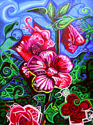 Musical Notes Painting Originals - Magenta Fleur Symphonic Zoo I by Genevieve Esson
