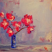 Interior Still Life Paintings - Magenta Flower Arrangement by Patricia Awapara