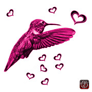 Animal Lover Digital Art - Magenta Hummingbird - 2055 F S M by James Ahn