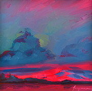 River View Paintings - Magenta Landscape by Patricia Awapara