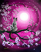 Cherry Blossoms Painting Originals - Magenta Morning Sakura by Laura Iverson