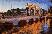 Netherlands Paintings - Magere Brug bridge in Amsterdam by George Atsametakis