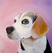 Beagle Puppies Paintings - Maggie by Debi Pople