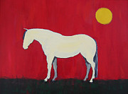 Gray Horse Prints - Maggie the Horse In The Moonlight Print by Carol Jo Smidt