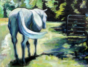 Gray Horse Prints - Maggie The Horse In The Pasture Print by Carol Jo Smidt