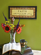 Inspirational Saying Photos - Maggies flowers with faith plaque by Sharon  Smith