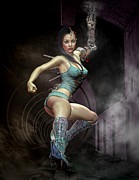Warrior Goddess Digital Art Prints - Maggies got a gun Print by Georgina Hannay