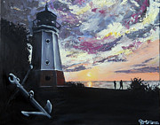 Ohio Paintings - Maggies Lighthouse by Jacqueline DelBrocco