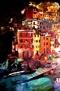 Riomaggiore Paintings - Magic Cinque Terre Night in Riomaggiore by M Bleichner