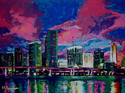 Skyline Painting Posters - Magic City Poster by Maria Arango