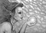 Pencil On Canvas Prints - Magic Gazer Print by Dawn  Gagnon