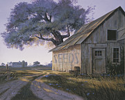 Old Barn Painting Posters - Magic Hour Poster by Michael Humphries