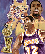 Larry Bird Painting Metal Prints - Magic Johnson Metal Print by Israel Torres