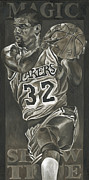 Nba Painting Posters - Magic Johnson - Legends Series Poster by David Courson