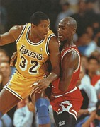 Lakers Prints - Magic Johnson vs Michael Jordan Poster Print by Sanely Great