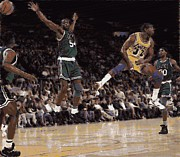 Magic Johnson Posters - Magic Johnson_1991 No Look Pass Poster by Woolman Brothers